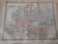Carte Map couleur Europe aempire d'Occident et d'Orient 1877