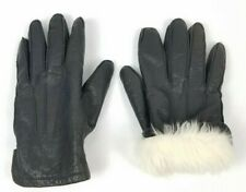 Fownes Black Leather Rabbit Fur Lined Gloves Men's Size Medium