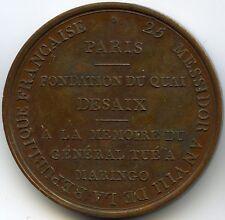 Consulat Napoleon Bonaparte Médaille Fondation du quai Desaix 1800