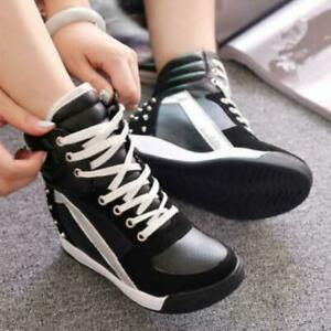 Women's Trainers Rivets Hidden Wedge Heel High Top Shoes Lace Up Sneakers S