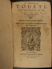 1598 Cardinal Francisco de Toledo Spanish JESUIT Philosophy Aristotle Commentary