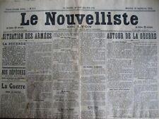 WW1 AUTOUR DE LA GUERRE COMMUNIQUéS FRONT LE NOUVELLISTE DE LYON 30/9/1914