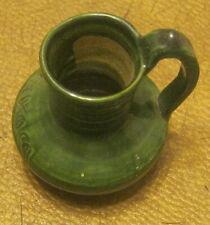 "Miniature Art Pottery Pitcher SIGNED ""OAXACA"" Mexico GREEN GLAZE #1 Nice!!!!"