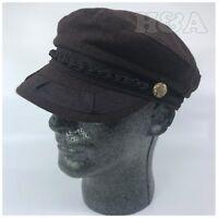 100% Wool Men's Greek Fisherman Sailor Fiddler Cabbie Winter Flat Hat Cap Brown