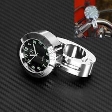 """7/8"""" 1"""" Motorcycle Bike Chrome Waterproof Black Dial Handlebar Clock Glow Watch"""