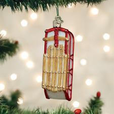OLD WORLD CHRISTMAS SLED GLASS CHRISTMAS ORNAMENT 44124
