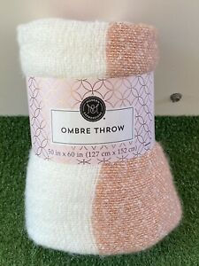 Modern Expressions Ombre Throw Blanket 50 in x 60 in White and Pink New