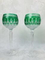 WATERFORD CRYSTAL Claredon Wine Stems Hocks Emerald Green Cut-to-Clear 7.75