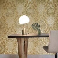 Wallpaper Victorian Vintage Damask Orange Brass Gold Metallic textured embossed