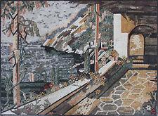 Calm Village Pathway Stones Grapes Vines Door Handmade Marble Mosaic LS129