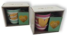 Coffee Mug Tea Ceramic Love Greeting Card Green Pink Heart Kiss Gift BOX