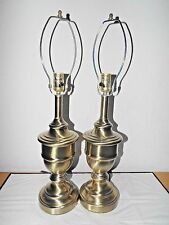 "LAMPS A PAIR OF HOTEL STYLE 24""H 3-WAY FANCY SWIRLED METAL NIGHTSTAND LAMPS"