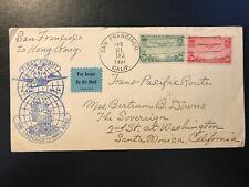 1937 Transatlantic Pan Am Clipper First Flight Cover San Francisco to Hong Kong