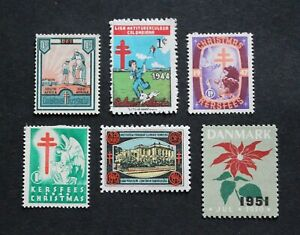 WW - 1933-51 SCARCE EARLY BOB CHRISTMAS & TB POSTER STAMPS LOT MH RR