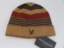 Lyle & Scott beanie hat boys age 6-10 yrs tan browns orange eagle NEW
