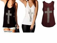 Womens Ladies Gothic Stud Cross Racer Back Sleeveless Stretch T Shirt Vest Top