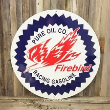 """Pure Firebird Gasoline Gas Oil 24"""" Large Embossed Round Metal Tin Sign Vintage"""