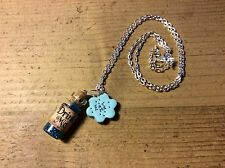 necklace Drink Me Eat Me Alice In Wonderland Handmade Cute Party Blue Glitter