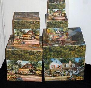 5 pcs Bobs Boxes Stacking Nesting Fine Art Flower Market Paul Landry 2001