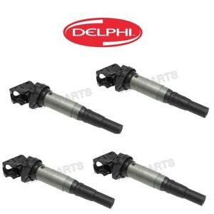For Mini Cooper Paceman Set of 4 Ignition Coil w/ Spark Plug Connectors Delphi