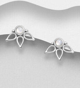 925 Sterling Silver Rainbow Moonstone Stud Boho Gypsy Bali Floral Stud Earrings