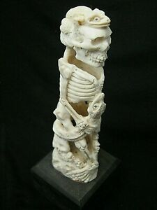 Unusual Memento Mori Hand Carved Buffalo Bone Okimono Statue Of A Skeleton Death