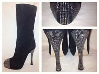 PAOLO CONTE RUSSIAN  BLACK KNEE HIGH BOOTS RHINESTONE  HEEL & TOE  SZ US 9:5