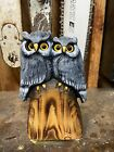 Mini HORNED OWL COUPLE Chainsaw Carving White Pine Wood OWL PAIR Statue UNIQUE