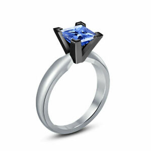 1.24 Ct Princess Solitaire Blue Sapphire Special Engagement Wedding Ring Silver
