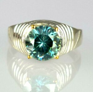 925 Sterling Silver Blue Diamond Solitaire 5.77 Ct Men's Promise Ring-Great Gift