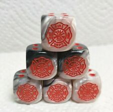 Dice - (6) Fire Dept. Logo #1 on 16mm Gemini Black/White w/Red Logo>>Hook,Ladder