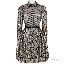 Victoria Victoria Beckham Black Gold Silver Bell Jaquard Shirt Dress UK8 IT40