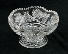 Quaker City Berlyn Cut Footed Mayo Bowl, Antique ABP Brilliant Period Glass Rare