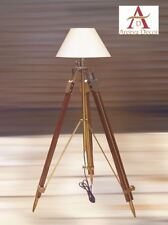 NAUTICAL ANTIQUE FINISH TRIPOD   TEAK WOODEN  FLOOR LAMP VINTAGE HOME DECOR
