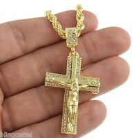"""Jesus Piece Chain Iced Cross Crucifix Pendant Gold Finish 24"""" Rope Necklace"""