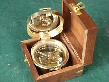 Marine Seefahrt Peil Kompass im Antik Stil Peilkompass aus Messing mit Holzbox