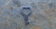 """Antique Eagle Lock Co Flat Steel Heart Shaped Padlock Key 1-1/2"""" Heart Key"""