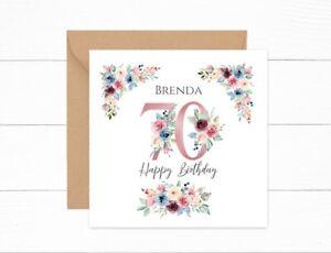 Personalised 70th Birthday Card Pink Floral Nan Auntie Mum Grandma Friend