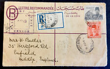 "Egypt ""King Farouk & Pyramids"" 1939 with 1941 cancel on cover"
