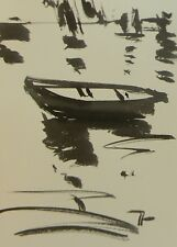 JOSE TRUJILLO ABSTRACT EXPRESSIONISM INK WASH MINIMALIST BOAT REFLECTIONS WATER