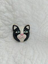 Black & White Tuxedo Cat Kitty Pin Heavy, Well Made