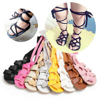 2019 Newborn Infant Baby Girl PU Leather High Bandage Sandals Summer Pram Shoes