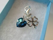Wedding Gift for The Bride - Something Blue Crystal Heart & Lucky Clover Charm