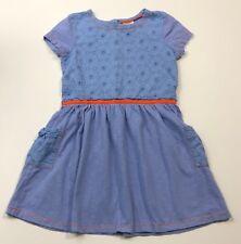 MINI BODEN Blue Eyelet Pocket Dress Size 6-7Y