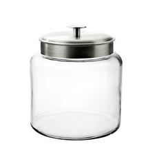 Montana Glass Jar With Airtight Lid, Brushed Metal, 1.5 Gallon- Large Capacity