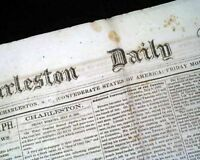 Confederate States of America CHARLESTON South Carolina Civil War 1862 Newspaper