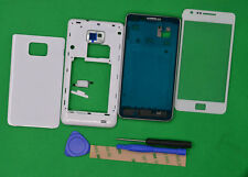 White Housing Cover + Front Glass Lens+Tools For Samsung Galaxy S2 SII GT-i9100