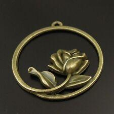 16pcs Antiqued Bronze Vintage Alloy Round Flower Rose Pendant Charms 38161