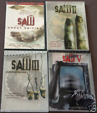 SAW I II III V Four (4) Movie DVD Lot As seen in The pictures provided VG Shape