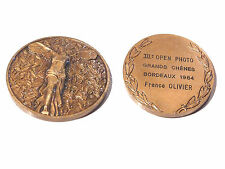 Objet de collection médaille bronze IIIe open photo  F. Olivier 1984